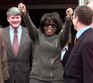 Oprah Winfrey celebrates 1998 courtroom victory. (Howard Lyman photo)