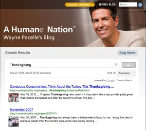 "2007 and 2012 editions of ""Wayne's blog"" demonstrate that HSUS president Wayne Pacelle has in truth heard of Thanksgiving."