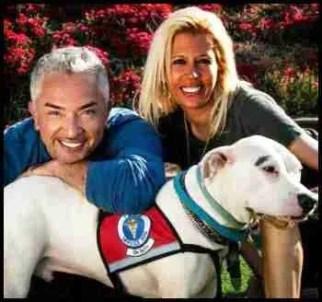 Cesar Millan, Jennifer Romano, & pit bull. (Facebook photo)
