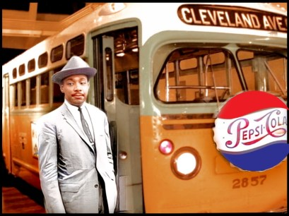 Martin Luther King Jr. next to the Rosa Parks bus #2857