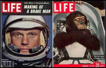 John Glenn and Ham on the covers of Life magazine