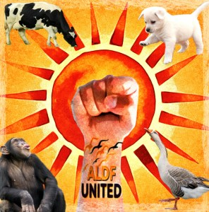 ALDF union symbol with sun and fist and animals