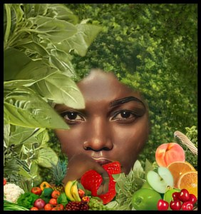 Black woman with fruits and vegetables