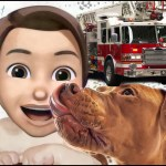 Child and pit bull with firetruck