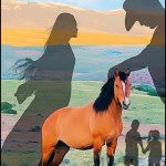 Man, woman, children with wild horse #dominionism