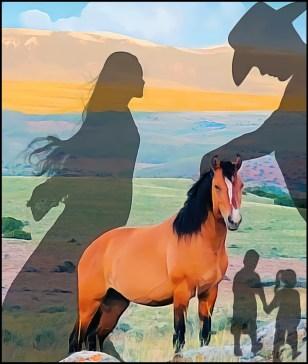 Man, woman children with wild horse #dominionism