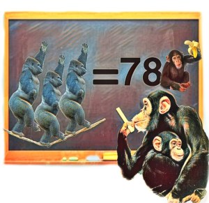 chimpanzee with chalkboard