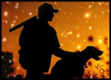 Hunter, dog, fire