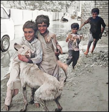Children & dogs, Pakistan