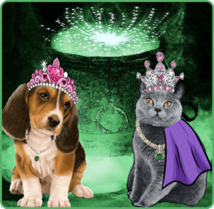 Dog & cat in tiara & purple cape