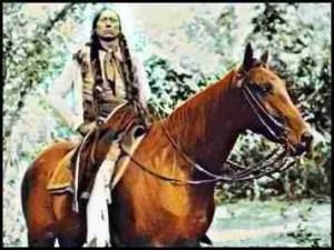 Last Comanche Chief Quantity Parker on horseback