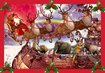 Noah's ark with santa and reindeer