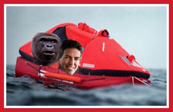 Harambe & Wayne Pacelle in lifeboat. (Beth Clifton collage)