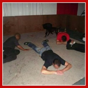 Crime scene photo showing 2011 arrest of Fanie Joubert.