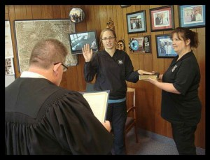 Ashley Nicole Welch sworn in as Deputy Clerk of Court in Walton Hills, Ohio. (Walton Hills Police Department photo)