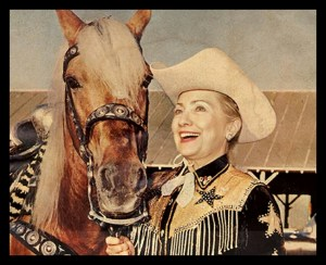 Photoshopped image of Hillary Clinton with horse. (Political Illusions Exposed image)