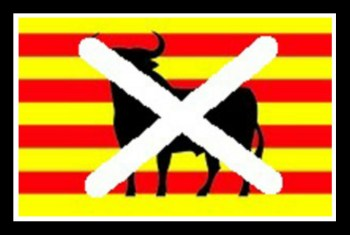 Banner used by Catalonian nationalists opposed to bullfighting. (Catalunya Accio flag, Beth Clifton collage)