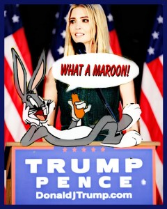 Bugs Bunny comments on Ivana Trump selling rabbit fur. (Beth Clifton collage)
