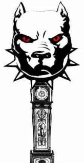 Pit bull clock collage by Merritt Clifton