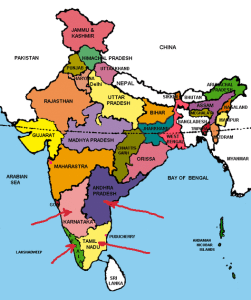 Red arrows indicate the four southern Indian states where foot-and-mouth vaccine failures apparently occurred in 2014.