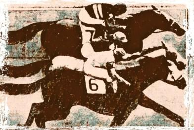 Racehorses with jockeys and Larry Hansman
