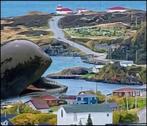 Faroe Island of Embree with pilot whale