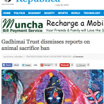 Did the Gadhi Mai Temple Trust renege on deal to quit animal sacrifice?