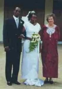 Josphat Ngonyo, Agnes Ngonyo, & Rosalie Osborn at Ngonyos' wedding.