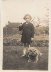 Rosalie Osborn, rarely photographed without an animal companion, as a child in Scotland.