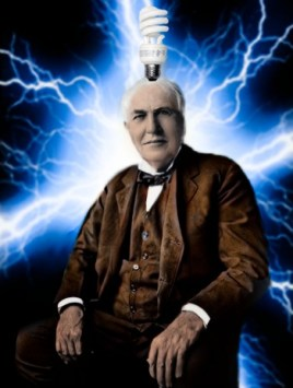Thomas Edison with a light bulb