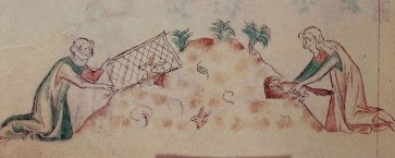 Women hunting rabbits with a ferret and net, from the Queen Mary Psalter, dating to 1310-1320.