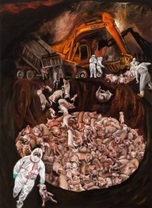 Korean Cull.  (Sue Coe painting,  from http://www.wegodlessanimals.com/south-korean-agribusiness-and-premeditated-cruelty/.)