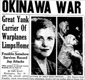 The 1945 fatal pit bull attack on Doretta Zinke of Miami shared top headline space with World War II.