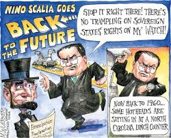 Justice Scalia was a frequent target of cartoonists, as in this example from The Nashville City Paper.
