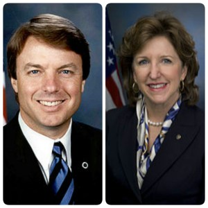 Former North Carolina Senator John Edwards, left, and his successor, Kay Hagan.