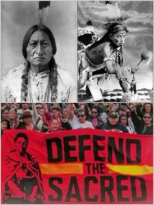 Sitting Bull, killed on the Standing Rock reservation in 1890; White Bull, a Sioux victim of the 1890 Wounded Knee massacre; marchers opposed to the Dakota Access pipeline.