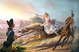 19th century artist's rendition of Sybil Ludington's ride.