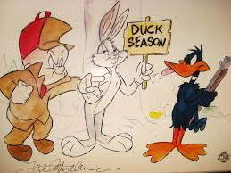 The Elmer Fudd, Bugs Bunny, and Daffy Duck animated cartoons ridiculed hunting, yet were instrumental in introducing the then-relatively new idea of hunting species only in specific limited seasons to the U.S. public.