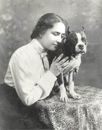 Helen Keller with her Boston terrier.
