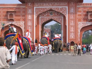 Tourist elephants leaving the Amber Fort.