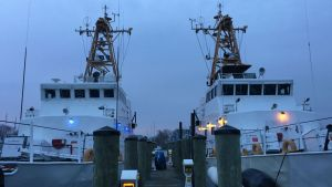 The former Coast Guard patrol boats Block Island and Pea Island,  recently acquired by the Sea Shepherd Conservation Society.  (Sea Shepherd photo)