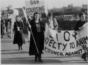 John Fitzgerald (right) at one of his early anti-coursing protests.