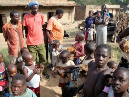Villagers in Uganda bringing their chickens for avian influenza testing, 2009 Stephanie Smith