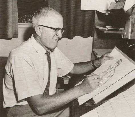 Milt Kahl at work - filled with intensity