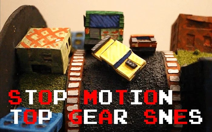 stop motion car arcade game Top Gear SNES