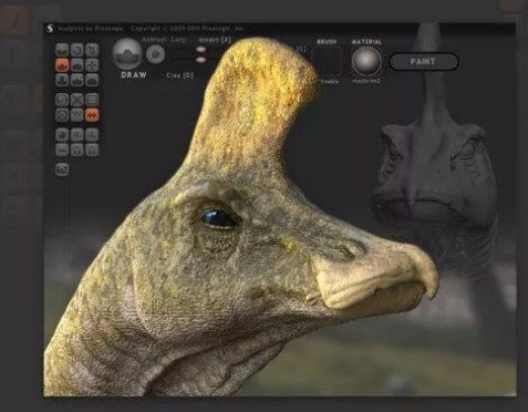 Interface graphique de Sculptris