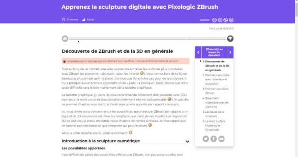 Cours complet pour apprendre à utiliser Zbrush sur Openclassroom (formation gratuite en ligne)