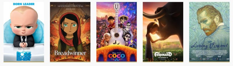 Nominees for Animated Feature film