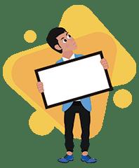 Josh Buisinessman - f1c_Hold a framed sign on background