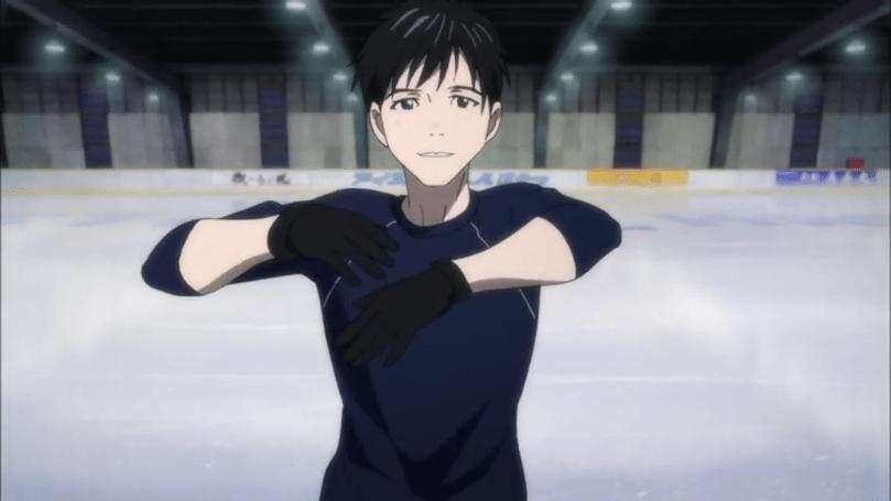 Yuri striking a pose on the ice